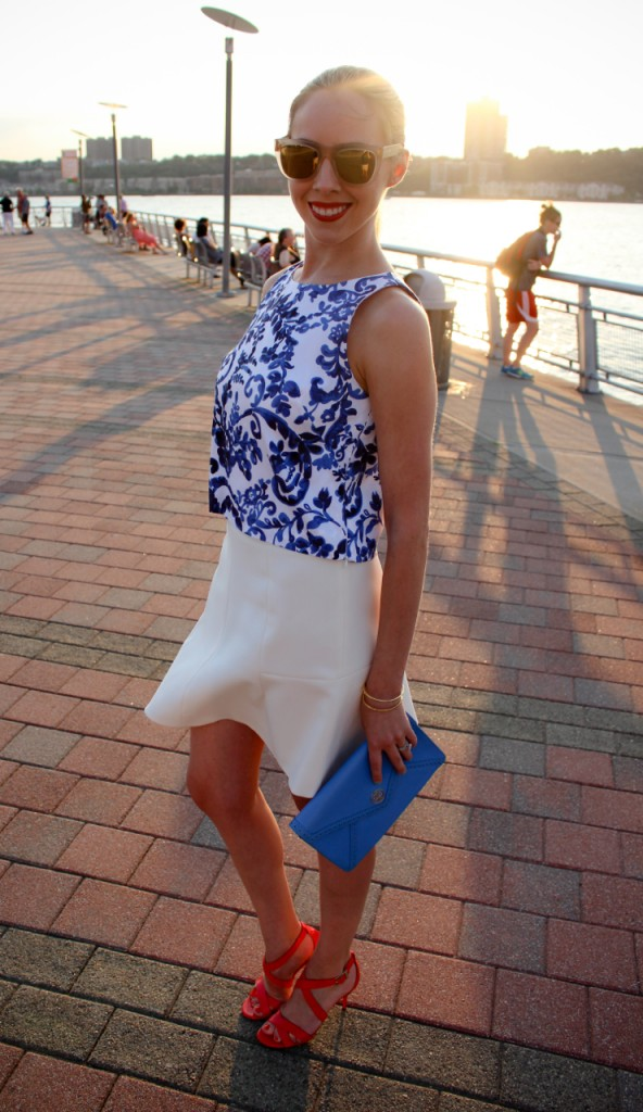Milly Crop Top  J Crew Fluted Skirt Tory Burch Robinson Clutch Super for J Crew Gals Oracle Sunglasses