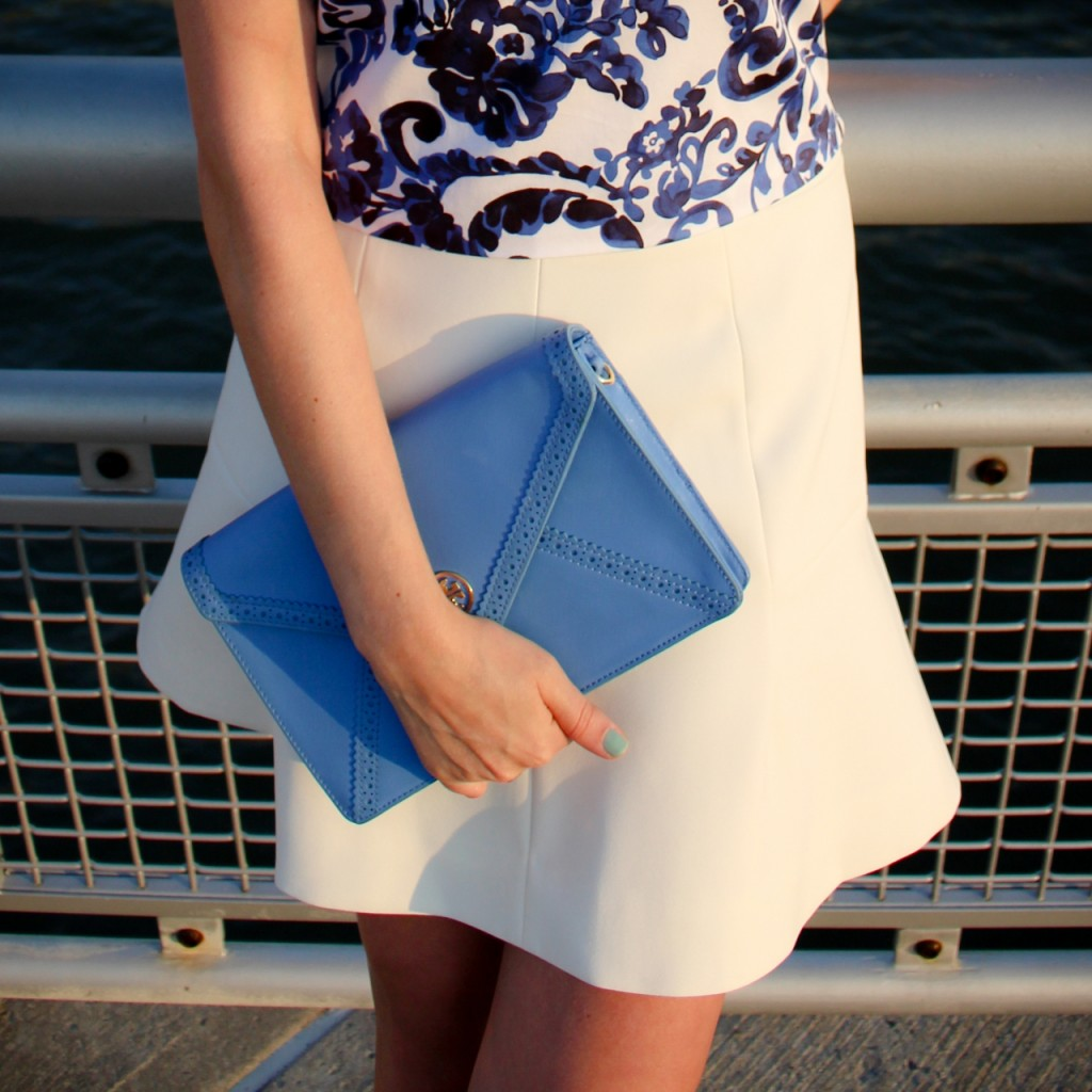 Milly Crop Top  J Crew Fluted Skirt Tory Burch Robinson Clutch