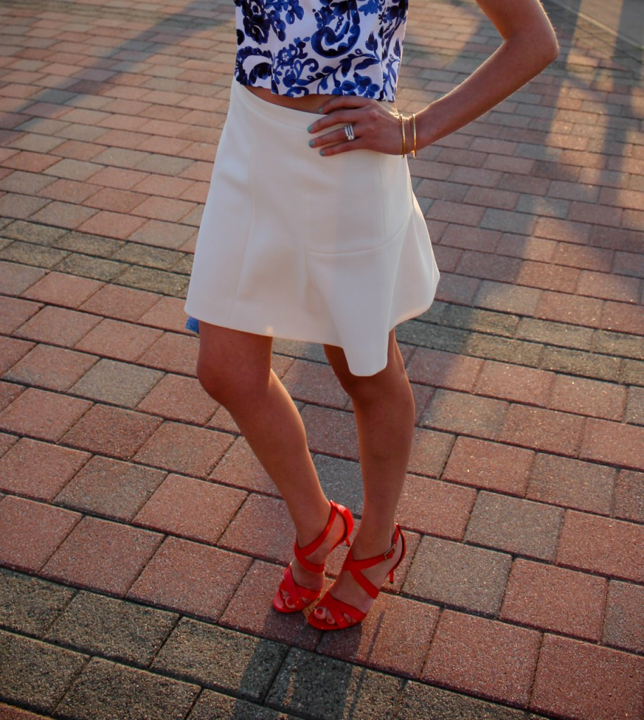 Milly Crop Top  J Crew Fluted Skirt Jimmy Choo Louise Sandals Tory Burch Robinson Clutch