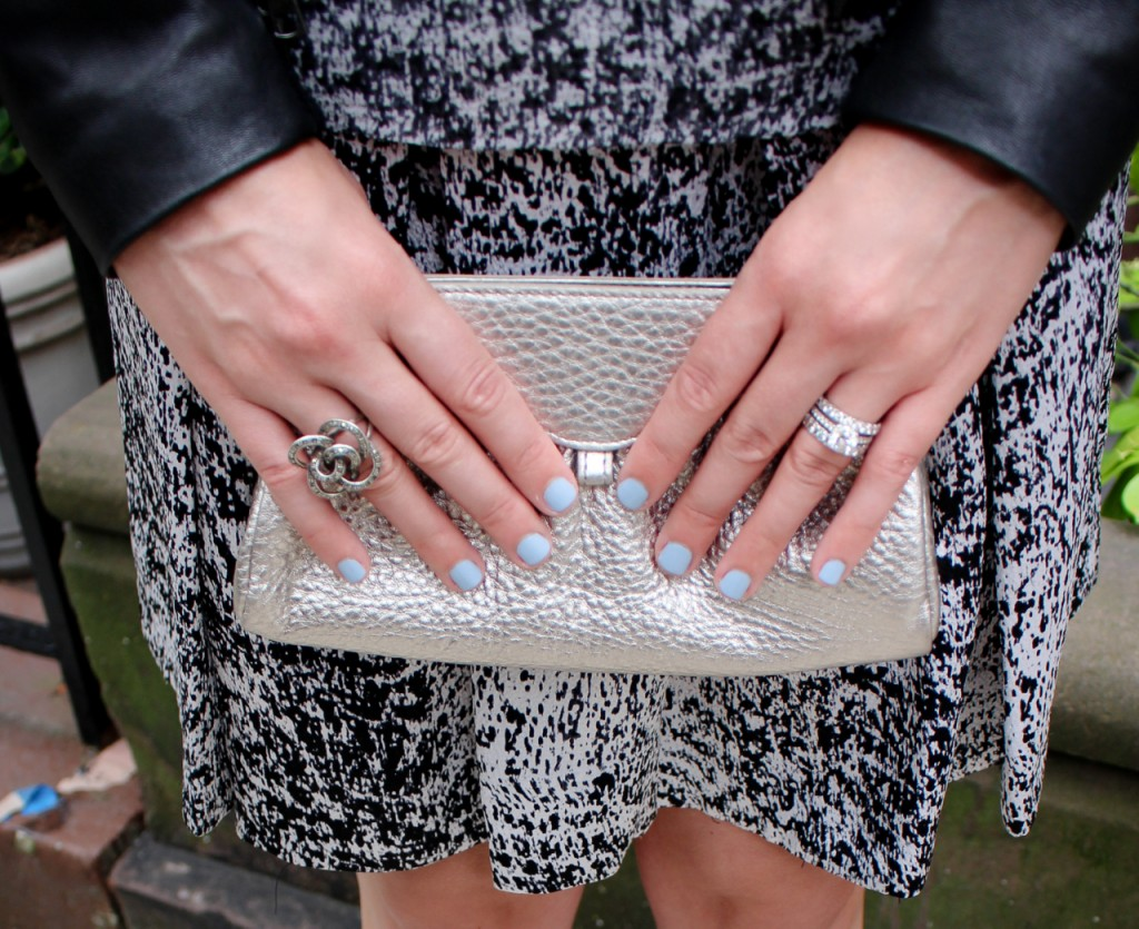 Rebecca Taylor White Noise Dress in Black/White   Cole Haan Leather Clutch in Silver