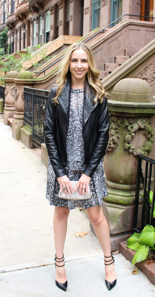 Rebecca Taylor White Noise Dress in Black/White   Vince Leather Scuba Jacket in Black   Cole Haan Leather Clutch in Silver