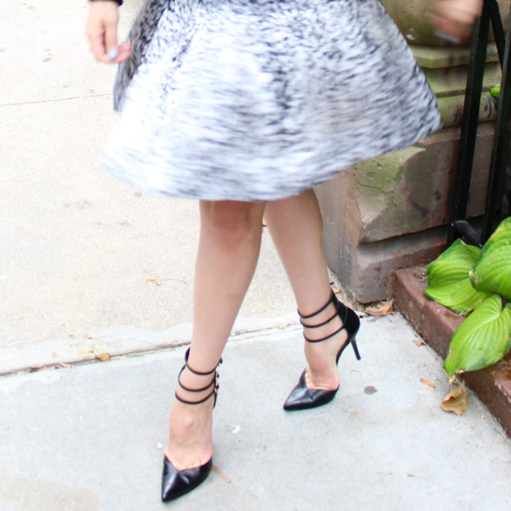 Rebecca Taylor White Noise Dress in Black/White | Stuart Weitzman Privacy Pump in Black