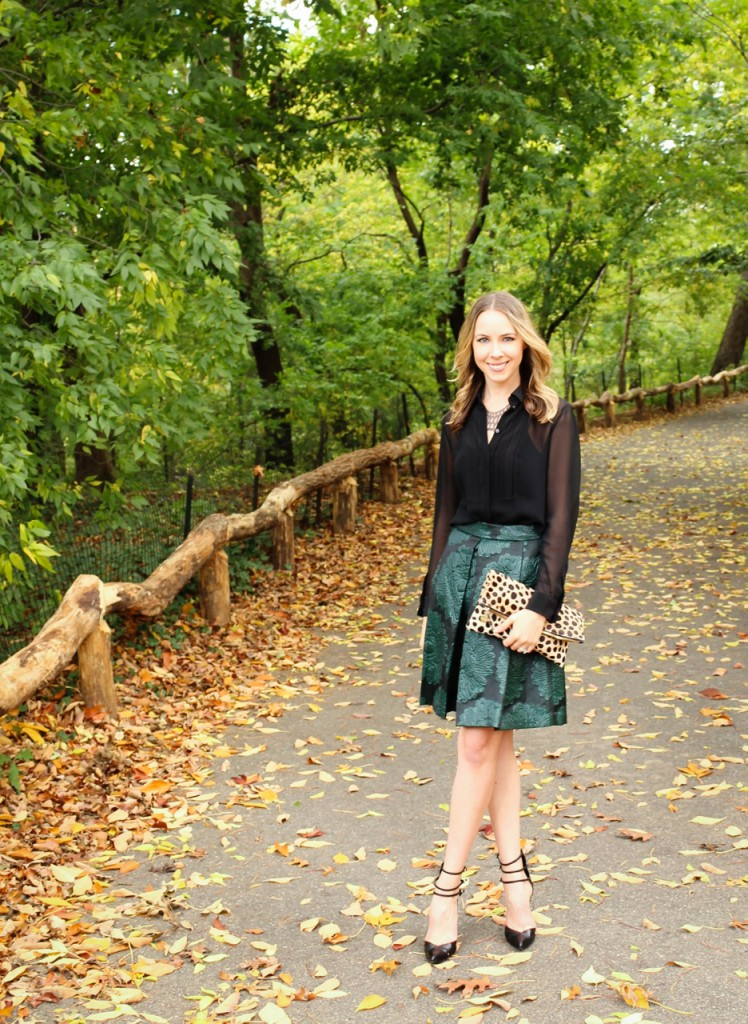 Trina Turk Julienne 2 Skirt | Stuart Weitzman Privacy Pumps | Clare Vivier Leopard Foldover Clutch | KT Collection Black Lace Collar Necklace | #MomentsOfChic