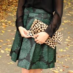 Trina Turk Julienne 2 Skirt | Clare Vivier Leopard Foldover Clutch | #MomentsOfChic