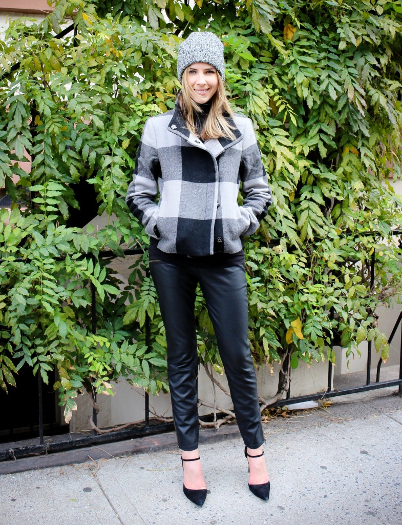 Banana Republic Buffalo Check Coat #thenewbr | Vince Favorite Turtleneck in Black | Free People Vegan Leather Skinny Pant | Club Monaco Colleen Cashmere Hat