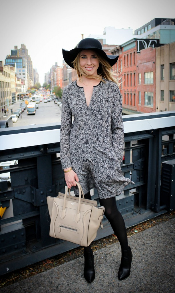 Club Monaco Arleta Dress | Vince Calla Booties | Topshop Floppy Wool Felt Hat | Céline Bag