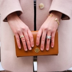 Hobbs Shona Coat | Tory Burch Robinson Chain Wallet | Gorjana XO Cuff | Banana Republic Person al Edge Triangle Ring Stack