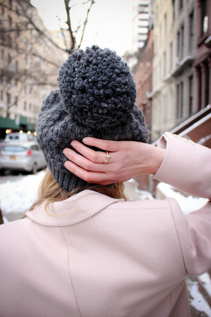 Hobbs Shona Coat | Urban Outfitters Oversized Pom Beanie | Banana Republic Person al Edge Triangle Ring Stack