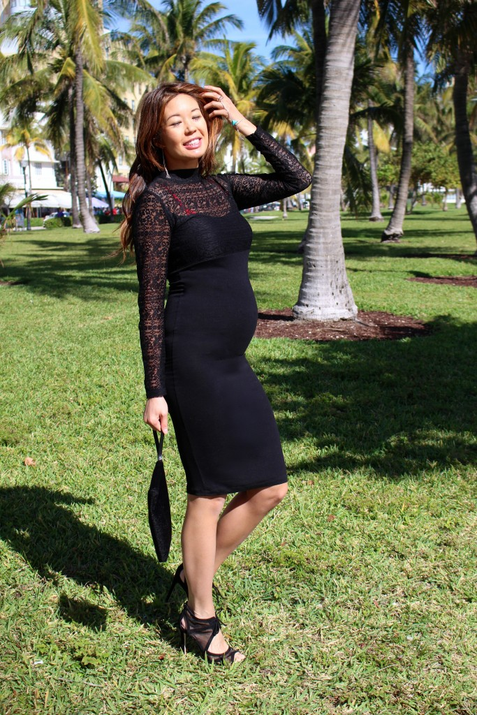 ASOS Maternity Bodycon Dress with Lace Insert