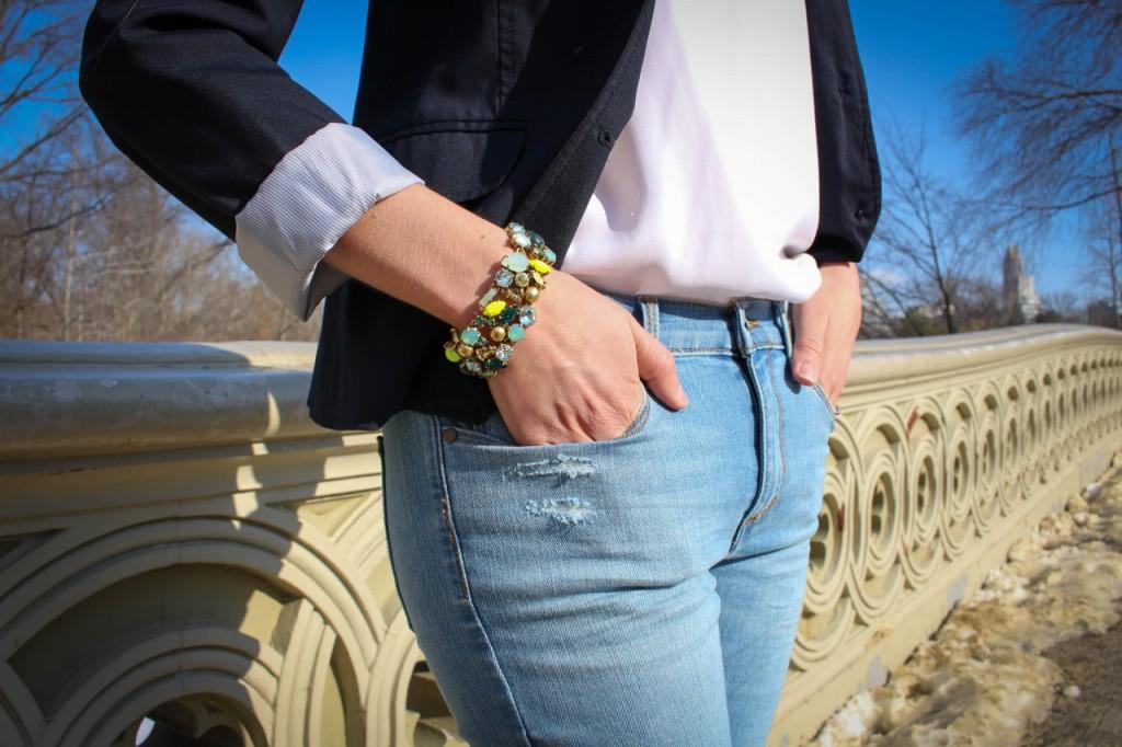 Banana Republic Indigo Skinny Ankle Zip Jean | Gap Classic Pique Blazer | J. Crew Spring Bloom Bracelet