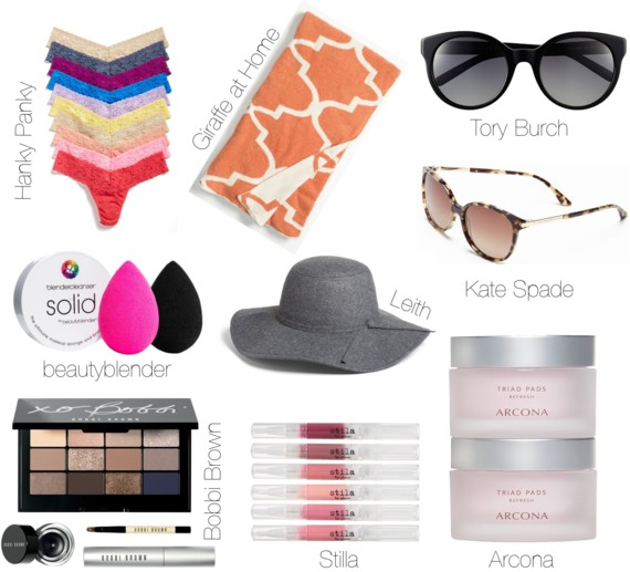#NSALE Nordstrom Anniversary Sale | Hanky Panky Lace Thongs // Giraffe at Home Moroccan Dolce Throw //  Tory Burch Polarized Cat Eye Sunglasses // Kate Spade Shawna Polarized Sunglasses // BeautyBlender Must Have Trio // Leith Floppy Felt Hat // Bobbi Brown Standout Eyes Set // Stila Modern Bloom Lip Glaze // Arcona Triad Toner Pads