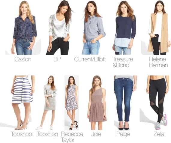 #NSALE Nordstrom Anniversary Sale   Caslon Long Sleeve Cotton Shirt // BP Stripe V-Neck Pullover // Current/Elliott 'The Slim Boy' Micro Houndstooth Shirt // Treasure&Bond Layered Shirttail Sweater // Helene Berman 'Edge to Edge' Wool Blend Waistcoat // Topshop Stripe Midi Skirt // Topshop Stripe Sweater Dress // Rebecca Taylor Abstract Print Sleeveless Dress // Joie 'Bernadine' Fit & Flare Silk Dress // Paige Denim 'Skyline' Skinny Jeans // Zella 'Live In - Out of Bounds' Workout Leggings