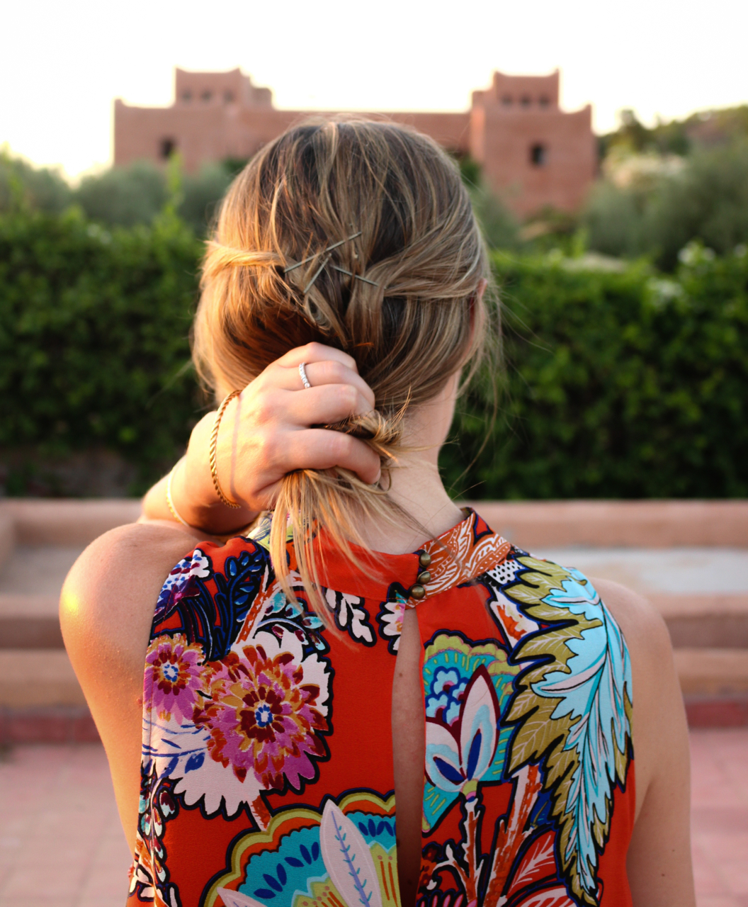 Anthropologie Maeve Larkhill Swing Dress at Kasbah Bab Ourika, Morocco