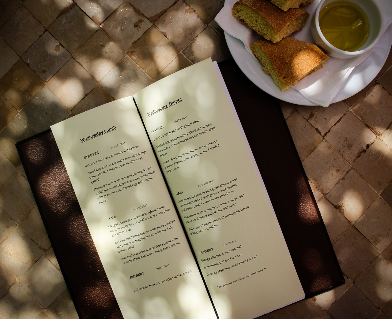 Menu at Kasbah Bab Ourika, Morocco | Maroc | Luxury Travel |Atlas Mountains | Ourika Valley