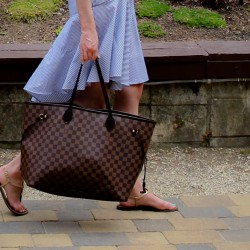 Tibi Stripe Cami Dress | Louis Vuitton Neverfull Tote