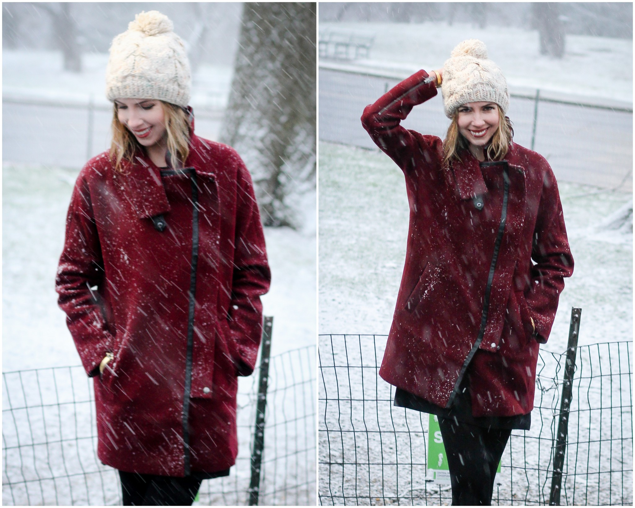Madewell City Grid Coat in Dark Cabernet | Madewell Sézane Parisien Beanie | Casually Glam 100th Post