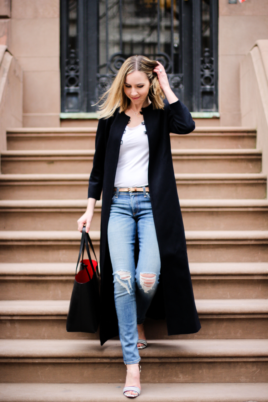 Rag & Bone The Skinny Jeans | J. Crew Striped Strappy Sandals | Mansur Gavriel Tote Bag