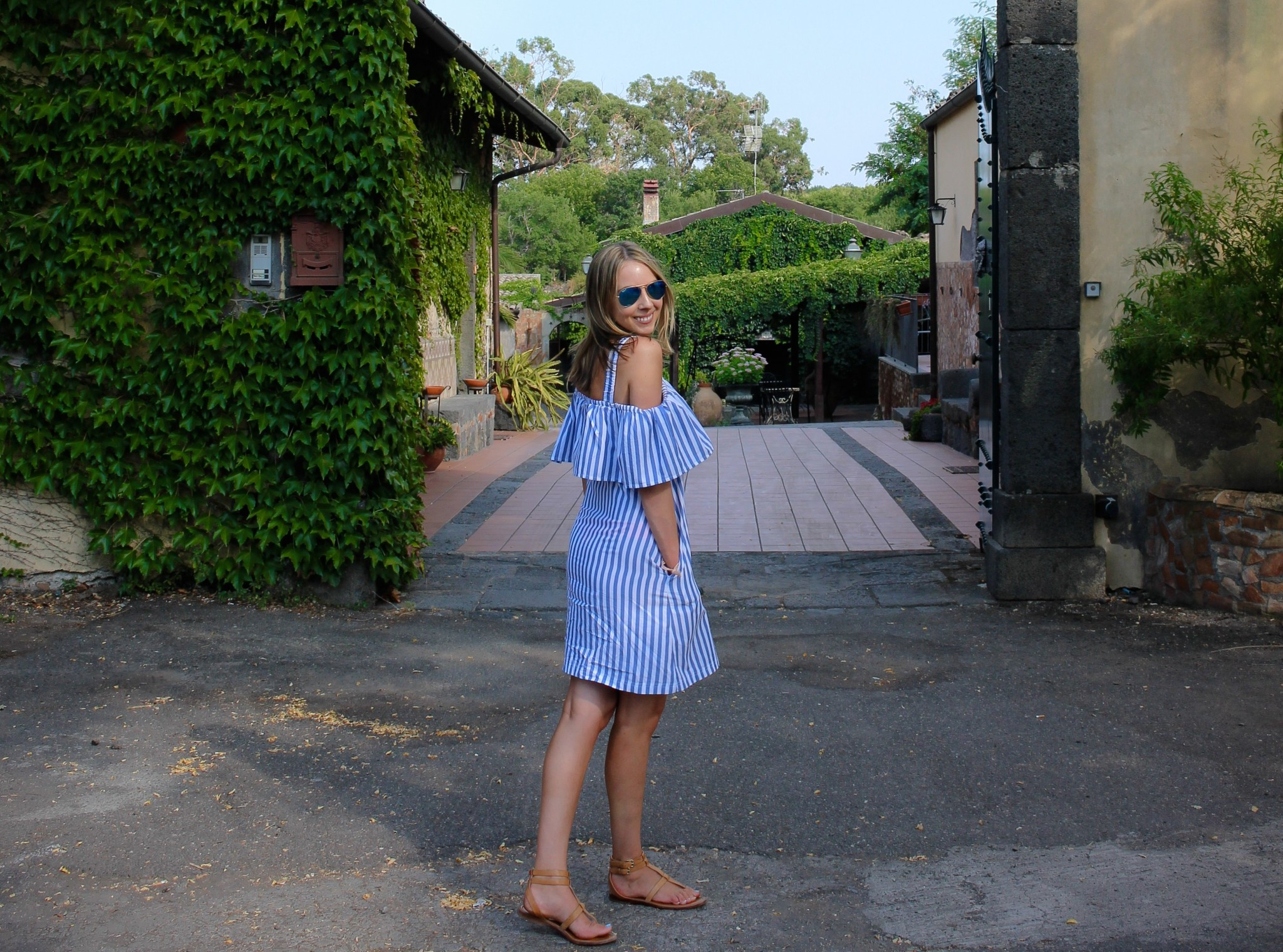 Whit Two Rehoboth Open Shoulder Stripe Mini Dress
