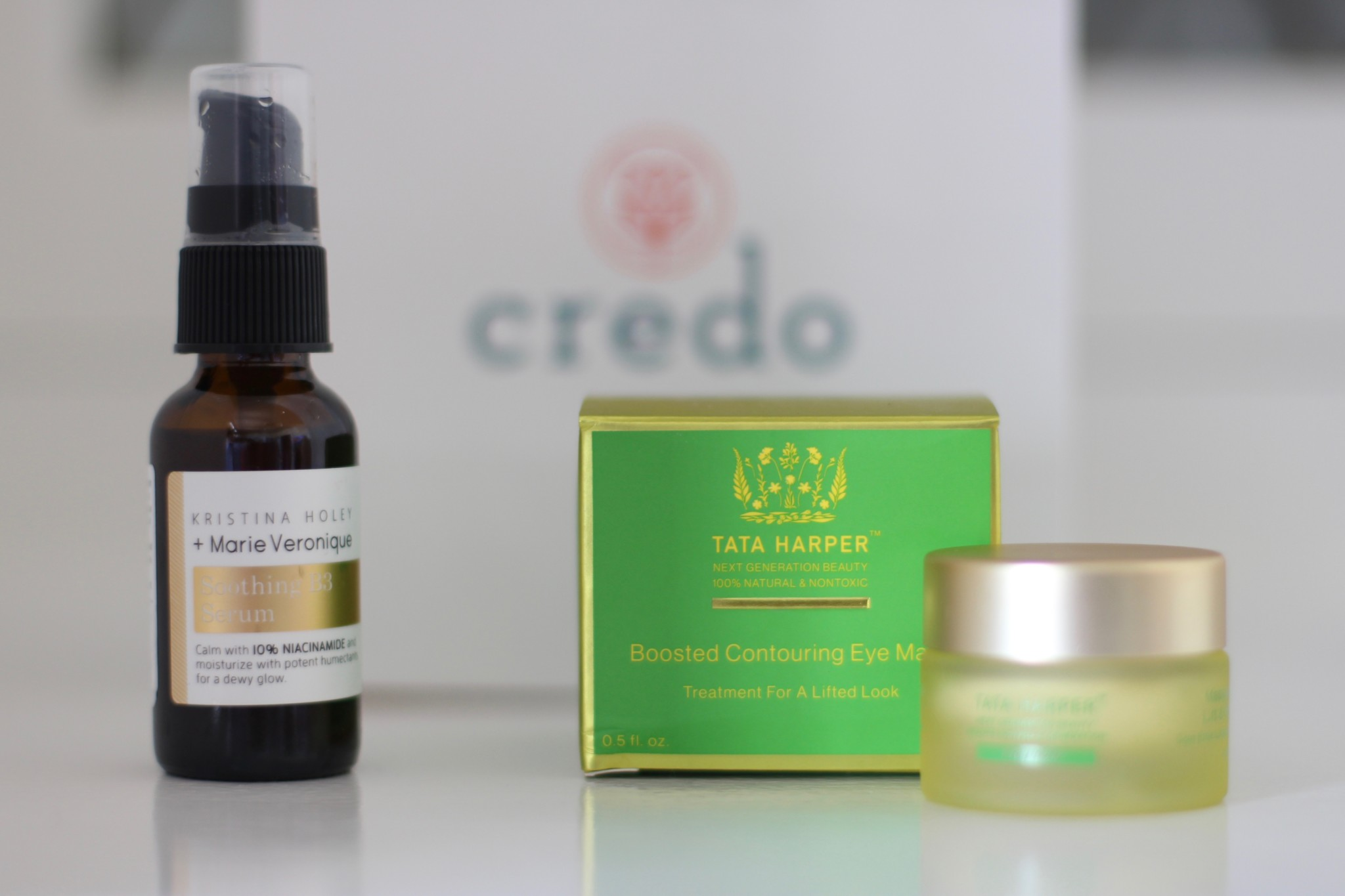 Credo Beauty   Marie Veronique Soothing B3 Serum   Tata Harper Boosted Contouring Eye Mask